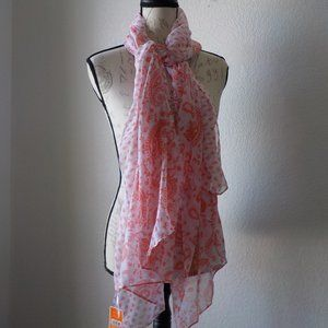 """West Loop Scarf Wrap Light Fabric White Red 32x70"""""""